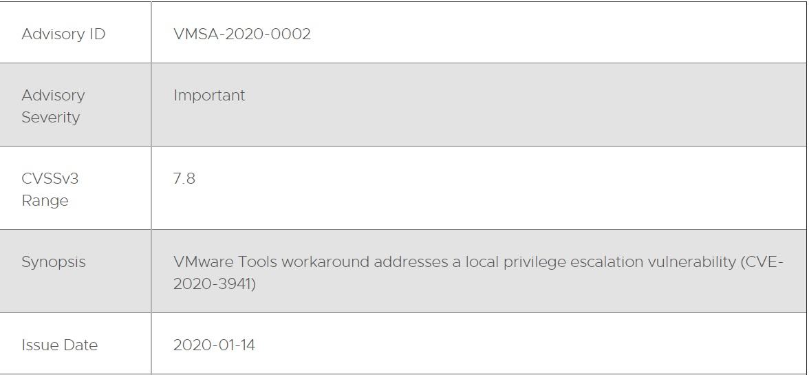 Vmware Tools için Güvenlik Güncellemesi